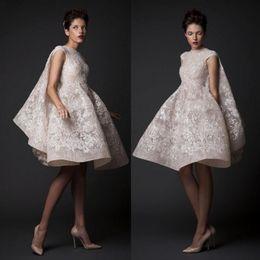 Wholesale Fashion Pastels - New Fashion Knee-length Wedding Dresses Krikor Jabotian High Neck Sequin Lace Applique Short Wedding Gown