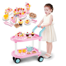 Wholesale Pretend Foods - Children play cake trolley 60 piece suit Pretend Play Cutting Food Set Kids Kitchen Educational Toy Play House Toys