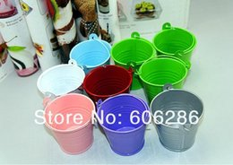 Wholesale Hot Pink Pails - HOT 2016 Mix Colors mini Tin Pails candy candy box wedding Supplies Favor Holders Free shipping 200pcs lot c