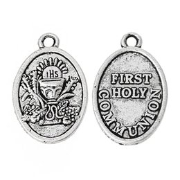 "Wholesale Pc First - Charm Pendants Oval Antique Silver ""First Holy Communion"" Carved 25.0mm x 16.0mm,50 PCs 2015 new"