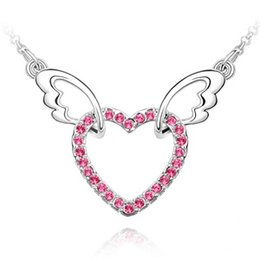 Wholesale Wing Heart Necklace Red - best-selling jewelry,angel wings heart-shaped ,silver pated jewelry crystal pendant necklace