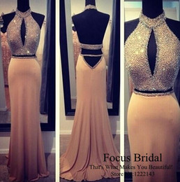 Wholesale Halter Mermaid Dress Bling - 2016 Sparkly Two Pieces Mermaid Prom Dresses Bling Crystals Beaded Halter Neck Sexy Backless Formal Evening Gowns Party Dresses