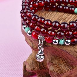 Wholesale Beads 4mm String - Freeshiping Imitate the garnet bracelet race geomancy crystal hand string Women string bead bracelet small gift 6mm 4mm 3 turn bracelets
