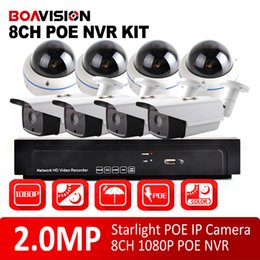 Wholesale Surveillance Camera Outdoor Angle - 8Ch CCTV 1080P NVR System Kit With 8Pcs 1080P 2MP Outdoor Bullet +Dome Starlight IP Camera Surveillance System,180 360 Degrees Wide Angle