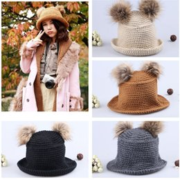 Wholesale Twins Hat Wholesale - Wholesale-New Arrival Winter Women Fashion Acrylic Cute Sweet Girl Hat Twin Bobbles Knitted Warm Cap Skullies Beanies
