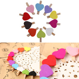 Wholesale Mini Wooden Heart Clips - 10Pcs Mini Hearts Wooden Pegs Photo Clips Craft Wedding Party Decor Decoration