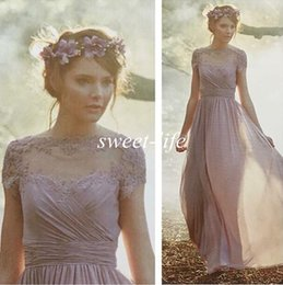 Wholesale Vintage Bridesmaids Gowns - Cheap Vintage Bridesmaid Dresses with Short Sleeves Light Purple Chiffon A-Line Sheer Lace 2016 Evening Gowns Prom Maid of Honor Party Dress