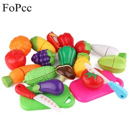 Wholesale Cutting Play Food - Wholesale-Children Plastic Kitchen Toys Cutting Fruit Vegetable Play Miniature Food Kids Baby Early Education Food Toy