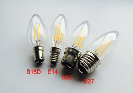 Wholesale E17 Candle - LED Candle Lamp Dimmable E12 E14 E27 B22 4W C35 C35T Filament Glass Housing Chandelier Bulb 110V 220V Warm Cold White Retro Candle Bulbs