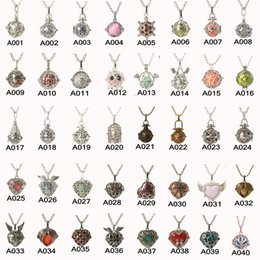 Wholesale Heart Pearl Bead - Mix 85 Style 18kgp Pendant Openable Hollowed cages Charm Pregnant Necklaces Angel Prenatal Education Pearl Beads Pendant