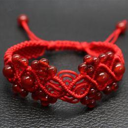 Wholesale Gift String Band - Wholesale Handmade Knitted Bracelets,Red Agate Bracelet,Lovers Red String Bracelet,Charm Bracelet,Loom Bands Bracelet,Wedding Bracelet CN333