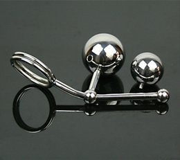 Wholesale Cock Rings Anal Balls - Anal Ball Stainless Steel Hollow Hook Butt Ball with Cock Ring Men Anal Sex Plug Chastity Device Double Balls Styling Tools A12