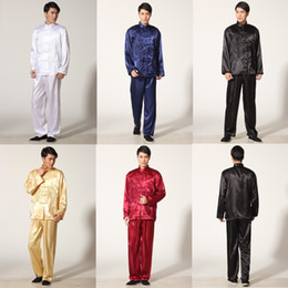 Wholesale Traditional Chinese Suit Free Shipping - Free shipping dragon embroidery chinese wushu uniform Kungfu clothing Taiji performance suit Martial arts chinese traditional clothes M001X