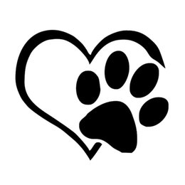 Wholesale 3d Reflective Stickers - Lovely Dog Puppy Paw Heart Design Vinyl Decal Car Stickers Black White 11.5 cm 20 pcs epacket free Exterior Accessories Whole Body