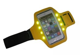 Wholesale S4 Green Case - UniversalRunning Armband LED Gym Jogging Phone Case 4.5 - LED lights S3 S4 S5 iphone 6 6s 6s plus