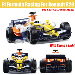 Wholesale Model Car Renault - For Renault R28 F1 Formula Racing 1:32 Scale Diecast Alloy Metal Car Model Collection Model Pull Back Toys Car With Sound&Light