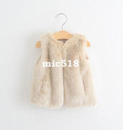 Wholesale Wholesale Waistcoats - vest jacket kids 2015 autumn winter Girls fur vest fashion high-grade brand Children's clothes wholesal 7pcs lot