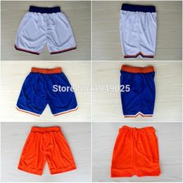 Wholesale Men Capris Xxl - Basketball Shorts 6 Kristaps Porzingis 7 Carmelo Anthony White Blue Orange Shorts Stitched Shorts Size M-XXL