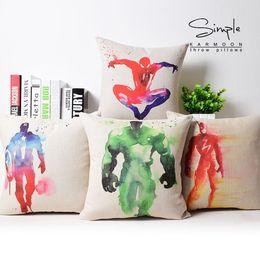 cojines de superman Rebajas Funda de almohada Hulk, Avengers Captain America Thor iron man batman spiderman superman Flash throw funda de almohada al por mayor