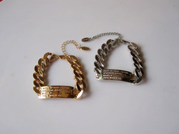 Wholesale Wholesale Metal Curb Chain - DHL Free Shipping Wholesale 11.11 Hip Hop New Women Jewelry Metal Linked Curb Chain Curved ID Bracelet