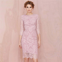 Wholesale jewel packaging - Prom Dresses 2016 New Midriff Three Button Dress Slim Package Hip Dress Lace Temperament Red Carpet Dresses Evening Gowns Bridesmaid Dresses