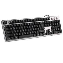 Wholesale Panel Aluminium - KB-104 LED Backlit Gaming Keyboard USB Wired Keyboard Full Keys Anti-Ghosting Aluminium Alloy Panel for PC Notebook Laptop Desktop