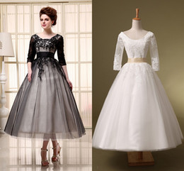 Wholesale Tulle Wedding Tea Dress - Free Shipping 2015 Cheap A-Line Wedding Dresses Ivory Black Half Sleeve Lace Up Tea Length Applique Lace Scoop In Stock Sheer Bridal Gowns