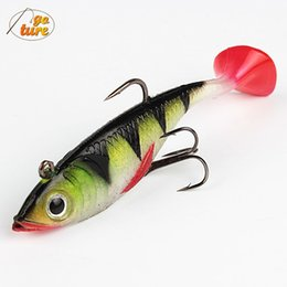 Wholesale Soft Baits Sea Fishing Lure - Goture 2015 4piece long tail soft lead fish fishing lures 11 g 8.5 cm luminous sea fishing tackle soft bait bass hook free shipp