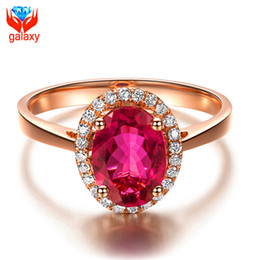 Wholesale 18k Ruby Diamond Rings - Elegant Aristocrat Trendy 18K Rose Gold Plated Jewelry Ring High Quality Red Cubic Zirconia Diamond Ruby Wedding Rings for Women ZR025