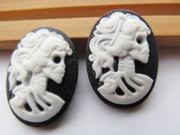 Wholesale Skull Phone Accessories - 20pcs 18x25mm Black White Oval Flatback Resin Beauty Skull Head Cameo Charm Finding,Phone Decoration Kit,DIY Accessory Jewellry