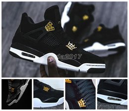Wholesale Best Brands Basketball Shoes - Retro 4 IV Royalty Black Suede Black Gold Basketball Shoes for mens Best retro 4s Brand Sports Shoes With Shoes box