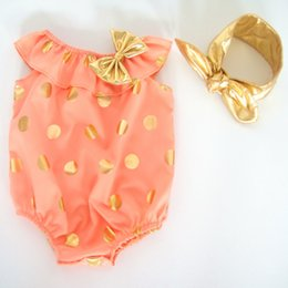 Wholesale Summer Baby Girls Clothing - Summer Kids Clothes Gold Dots Metallic Baby Girls Bubble Romper Ruffle Baby Girls Sunsuit Toddler Outfit with Headband