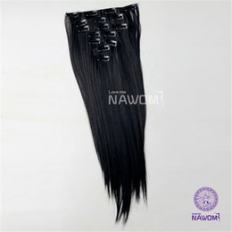 Wholesale Mixed Synthetic Hair Weave - NAWOMI 7Pcs Set 22Inch 55cm Heat Resistant Synthetic Weave Straight Natural Black Women Clips In Fiber Hair Extension Full Head