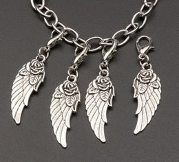 Wholesale Clasps Tibetan - Hot sell ! Tibetan silver Zinc Alloy wings Dangle Bead with Lobster clasp Fit Charm Bracelet 44 x 11mm (390)