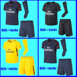 Wholesale Xl Child - YOUTH Maillot de foot MBAPPE NEYMAR JR soccer jersey KIDS 2017 2018 DANI ALVES CAVANI SAINT Jersey 17 18 child kits socks uniform sets