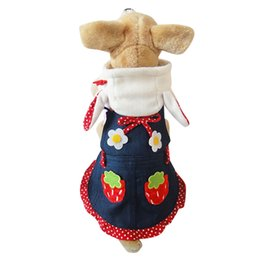 Wholesale Dress Size Small Free Shipping - Free shipping!New arrival Dog stripe dress Skirt Strawberry design,pet puppy clothes,4 sizes