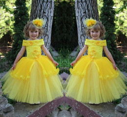 Wholesale Girls Bright Party Dresses - Cute Bright Yellow 2016 Flower Girls Dresses For Wedding Tulle Ball Gowns With Lace Applique Beads Little Girls Pageant Party Dresses 2015