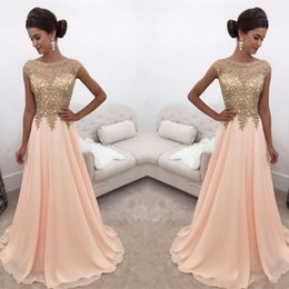 Wholesale Cheap Water Balls - Stunning Chiffon Evening Dresses Ball Applique Cheap Beads A-Line Sheer 2018 Long Party Prom Dresses Gowns Formal Robe De Soiree