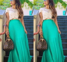 Wholesale Mint Maxi - Maxi Chiffon Long Skirts 2015 Free Shipping Pleats Floor Length Mint Green Chiffon Prom Skirt For Women