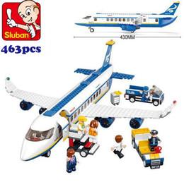 Wholesale Sluban Bus - FG1511 Simplebox Sluban M38-B0366 Air bus Plane aviation Building Blocks Transport enlighten aircraft vehicle Toys Bricks set for kid