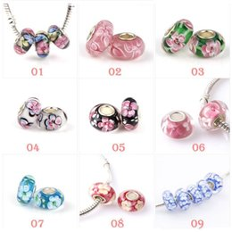 Wholesale Charm 925 Ale - 925 pure silver ALE stamped thread core murano glass beads mix lampwork glass beads big hole Murano Glass Charm Bead For Pandora Bracelets