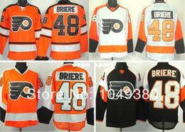 camisola clássica do hóquei do inverno alaranjado Desconto 2016 Novo, Moda-Philadelphia Flyers Hóquei No Gelo Jerseys # 48 Danny Briere Jersey Laranja Inverno Clássico Preto Branco Barato Costurado Livre