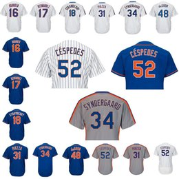 Wholesale Darryl Strawberry - Men's jersey 34 noah syndergaard 52 Yoenis Cespedes 16 Dwight AGooden 17 Keith Hernandez 18 Darryl Strawberry 48 Jacob deGrom 31 Mike Piazza