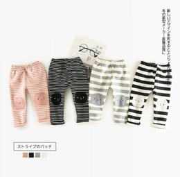 Wholesale Korean Girl Winter Style - INS 4 color NEW ARRIVAL autumn winter Korean style Stripe patch Add poil pants boy and girls pants free shipping
