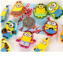 Wholesale Despicable Clothes - Promotions 10 models Despicable Me Minions Brooch PVC plastic Cartoon badge Safety pins for kids clothes school bags Christmas gift 200049