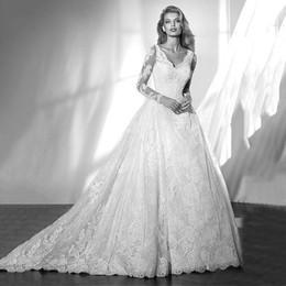 Wholesale Empire Waistline Dress - Luxury V-neck Neckline Natural Waistline A-line Wedding Dresses Gorgeous Lace Appliques Illusion Long Sleeves Bridal Gowns Wedding Dresses