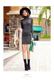 Wholesale Tight Silk Dresses - Europe slim sexy skirt long sleeved turtleneck all-match bright silk knit dress tight bottom dress winter 2017