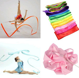 Wholesale Fitness Ballet - Colorful Fitness ribbons Dance Ribbon Gym Rhythmic Gymnastics Art Gymnastic Ballet Streamer Twirling Rod gift 9 Colors Free Shipping