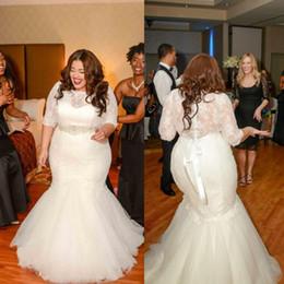 Wholesale Cheap Plus Size Bridal Wraps - 2015 Mermaid Lace Wedding Dresses With 3 4 Long Sleeves Vintage Plus Size Beaded Bridal Gowns Cheap Plus Size Sexy Sheer Dress Vestidos lace
