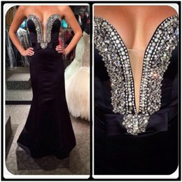 Wholesale Long Black Evening Dresses Online - 2016 Black Mermaid Prom Dresses Sexy Beaded Sweetheart Sleeveless Satin Cheap Long Evening Prom Gowns Online